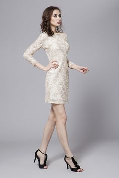 $149.89 Sheath Column Bateau Neckline Short Length Lace dress -Mother of the Bride Dresses-DeniseDress