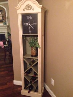 I love how she took a Grandfathers clock and made it into a wine cabinet!
