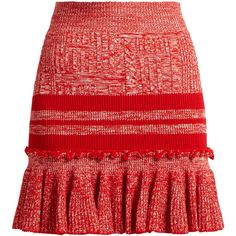 Alexander McQueen Ruffled-hem striped wool and silk-blend skirt (34.910 RUB) ❤ liked on Polyvore featuring skirts, mini skirts, alexander mcqueen, gonne, red wool skirt, ruffle mini skirt, flounce hem skirt, short red skirt and red skirt