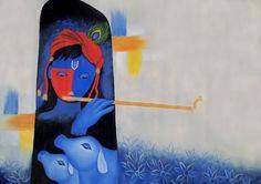 Krishna and Golden Flute by Chetan Katigar