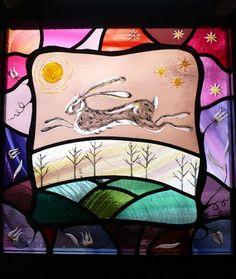 Harvest Hare stained glass Karen Davies