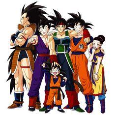 Bardock, Raditz, Goku, Gohan, Goten, and Chi-Chi