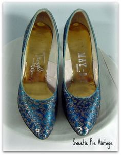 60s Troylings Blue & Gold Brocade Shoes