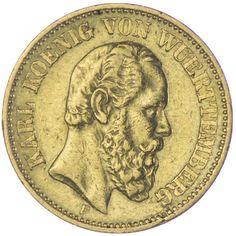 20 Mark 1872 F Deutsches Kaiserreich Württemberg, Karl 1864 - 1891