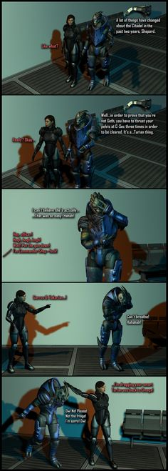 Exactly just WHAT she knew? I'll let you decide. --- Here is a full size version of the 3rd panel: --- All I did was just extract the models from Mass Effect 2's PC assets, bring them into 3ds Max,...