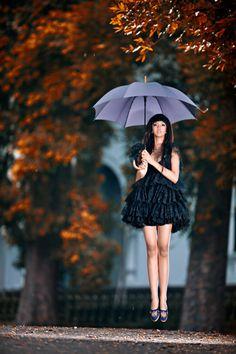 Floating umbrella girl