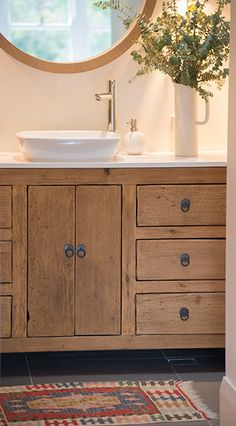 Bathroom - cabinet from Stone Pony. Want barn wood but this recessed style. Note the fact that it appears to be a piece of furniture (off floor) Bathroom Renos, Bathroom Cabinets, Bathroom Ideas, Family Bathroom, Master Bathroom, Rustic Bathroom Designs, Home Upgrades, Bath Design, Bath Remodel