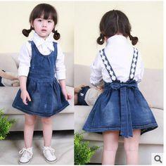 Đầm yếm Jeans bé gái thắt nơ, thiết kế xinh xắn, mẫu Hàn Quốc