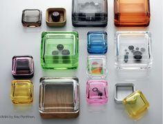 are perfect storage boxes - a modern classic in these yummy colors!Littala Vitriini Glass Boxes available at huset-