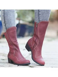 Square with low heel boots We offer fashion dresses, tops,jeans,swimsuits, shoes, bodysuits, skirts and more with cheap  affordable prices. # #FlatBoots