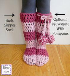Free Crochet Pattern...Strawberry Blossom Slipper Socks!