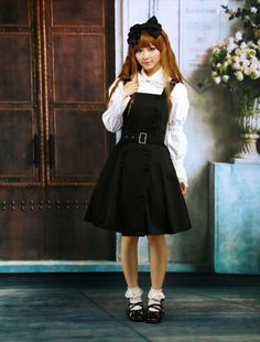 Cotton Black Buttons Cosplay Lolita Dress