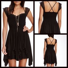 Free people miss mini dress *flawed* This dress is so cute and flattering. Only worn once, however on the back left shoulder strap, part of the lace came apart from the seam but is an easy fix!!! Free People Dresses Mini