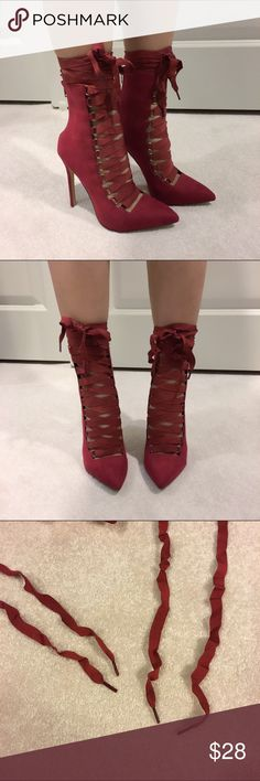 Red ribbon lace up pointy booties Brand new no shoebox. The shoe lace is wrinkly. Shoes