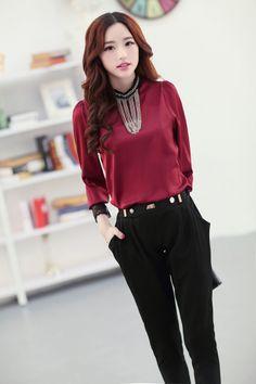 Long Sleeve, Chiffon, Blouse, Lace, Metal Ornaments, YRB2102, YRB Fashion, Good-Looker, Free Shipping, online Clothing, Womens