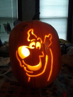 My Scooby-Doo pumpkin carving from Halloween 2014. Just search Scooby Doo stencils on Google images.