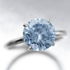 Very Rare Fancy Intense Blue Diamond Ring. The fancy intense natural blue brilliant-cut diamond weighing 3.17 carats, mounted in platinum as a ring.