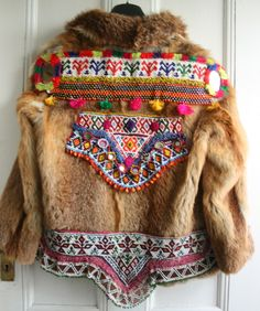 """Vintage fur embellished jacket. to me this jacket says """"I want to go home and relax with my pet turtle""""."""
