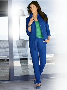 #HeineShoppingliste Blazer und Hose in royalblau, Spaghetti-Top in grün