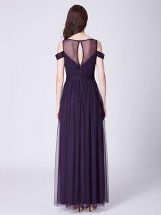 f82e4291de0 Cold Shoulder Ruched Bust Purple Evening Dress