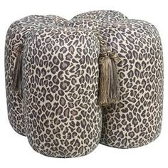 "Ottoman with leopard-print upholstery and tassel accents.    Product: OttomanConstruction Material: Wood and polyesterColor: BrownFeatures: Tassel detailEco-friendlySeat capacity of 225 lbs  Dimensions: 17"" H x 23"" W x 23"" DCleaning and Care: Spot clean only"