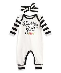 Tesa Babe | Ivory & Black Stripe 'Daddy's Girl' Playsuit & Headband - Infant