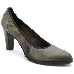 Escarpins rosemetal j0927d  de couleur taupe, en cuir. Chaussures avec un talon…