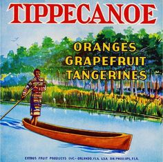 * for Blake and Ollie ( tippy canoe) 😉 Looks like you in the Everglades islands, with your Lil dog😉Orlando Florida Tippecanoe Orange Citrus Fruit Crate Label Print Orlando Florida, Old Florida, Vintage Florida, Vintage Labels, Vintage Ads, Vintage Posters, Art Posters, Vintage Clip, Travel Posters