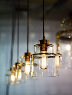 Hand blown glass Empire pendant lights by Rothschild & Bickers