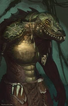 m Lizardman Druid Light Armor Necklace by Devtexture lg Dungeons And Dragons Characters, D&d Dungeons And Dragons, Dnd Characters, Fantasy Characters, Fantasy Character Design, Character Concept, Character Inspiration, Character Art, Fantasy Races