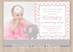 Pink and Grey Elephant Birthday Invitation  DIY by printablecandee, $10.00