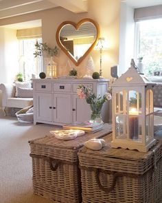 Modern country Lounge White heart lanterns Grey console Heart mirror Home decor West Barn Interiors