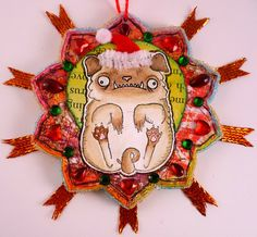Floating Pug Christmas Ornament by Kira Nichols. There is now a rubber stamp of this dog available!