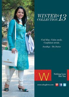 Some might say that her #beautiful smile is enough to cure a thousand maladies. Sandhya's #grace and #charm delights us in this cool blue ensemble. #Wcollection