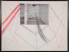 "Sterling Ruby, ""Prison,"" 2004. Collage and pencil on paper, 31 1/2 x 23 3/4 inches."
