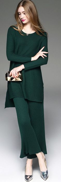Dark Green High Low Slit Two-piece Suit
