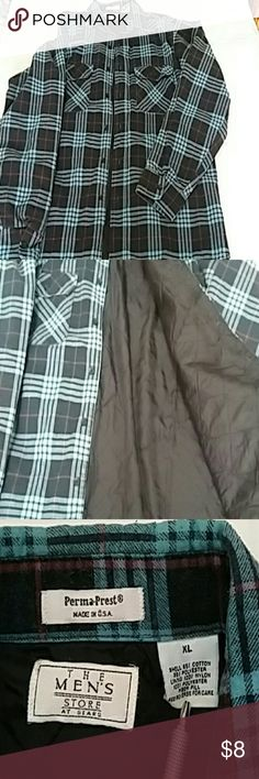 Mens quilted inside flannel shirt. Like new men's flannel, quilted lining.  Very warm. Sears Shirts