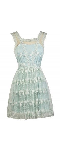 Lily Boutique Blossom Embroidery Mesh Overlay A-Line Dress in Blue Mint, $38 Pale Blue Embroidered A-Line Dress, Cute Blue Dress, Blue and Ivory Sundress www.lilyboutique.com