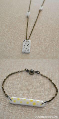 Collier et bracelet en porcelaine émaillée Lapincitron