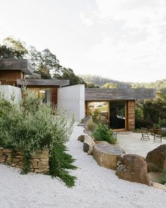 """Architecture & Interior Design on Instagram: """"Project Feature •Cataract Gorge House is situated on a steep north facing piece of land that informs the two narrow pavilion plans, with…"""" Architecture Details, Interior Architecture, Interior Design, Garden Entrance, House Built, Showcase Design, Dream Decor, Backyard, Exterior"""
