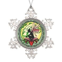 Lily Shadow Fairy Snowflake Pewter Christmas Ornament - cat cats kitten kitty pet love pussy