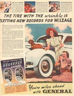 Vintage Dachshund Weenie Dog General Tire Red Hat Girl Automotive Auto Car Ad | eBay