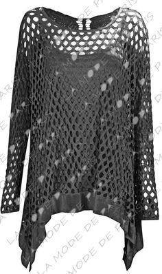 W12 NEW WOMEN CROCHET HOLEY LADIES FISH NET LONG SLEEVE VEST TOP PLUS SIZE DRESS | eBay