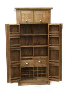 Freestanding larder cupboard oak -Solid wood - Kitchen Storage Cupboard |
