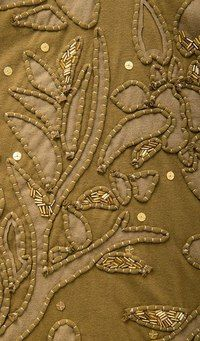 Florence Dress (detail) is hand embroidered with gold beading Silk Ribbon Embroidery, Embroidery Applique, Embroidery Stitches, Textile Fiber Art, Textile Artists, Textiles, Bordados E Cia, Reverse Applique, Fabric Manipulation