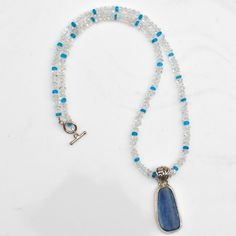 Blue Kyanite, Clear Quartz, Blue Apatite. $38.00, via Etsy.