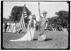 1919 Two women (possibly in the Washington, DC area) dressed as Liberty and Columbia as part of the year's Fourth of July celebration. Photo courtesy of the Library of Congress. | Ruby Lane Blog