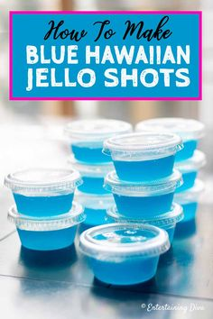 How to Make Blue Hawaiian Jello Shots - Entertaining Diva Recipes @ From House To Home GREAT recipe for Blue Hawaiian jello shots with coconut rum! The pineapple juice, Malibu rum and blue curacao tastes great with the berry blue jello. Malibu Jello Shots, Blue Hawaiian Jello Shots, Easy Jello Shots, Jello Shot Cups, Jello Pudding Shots, Jello Shot Recipes, Alcohol Drink Recipes, Summer Jello Shots, Jello Shots With Rum
