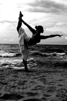 dancer on the beach - forward bend/hanuman variation