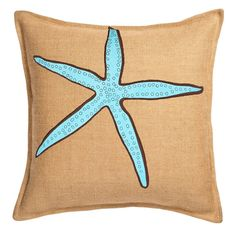Use this blue starfish print burlap pillow to decorate any room in your home. The pillow features a burlap outer shell with a hidden zipper closure and comfortable pillow form insert. Burlap Throw Pillows, Wash Pillows, Blue Pillows, Decorative Pillows, Seaside Home Decor, Beach House Decor, Coastal Decor, Coastal Style, Comfortable Pillows